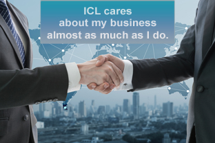 Handshake; ICL cares about my business.